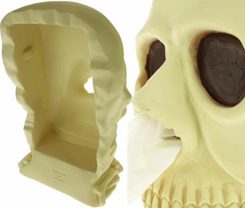 Sötétben fluoreszkáló zsebkendő adagoló koponya