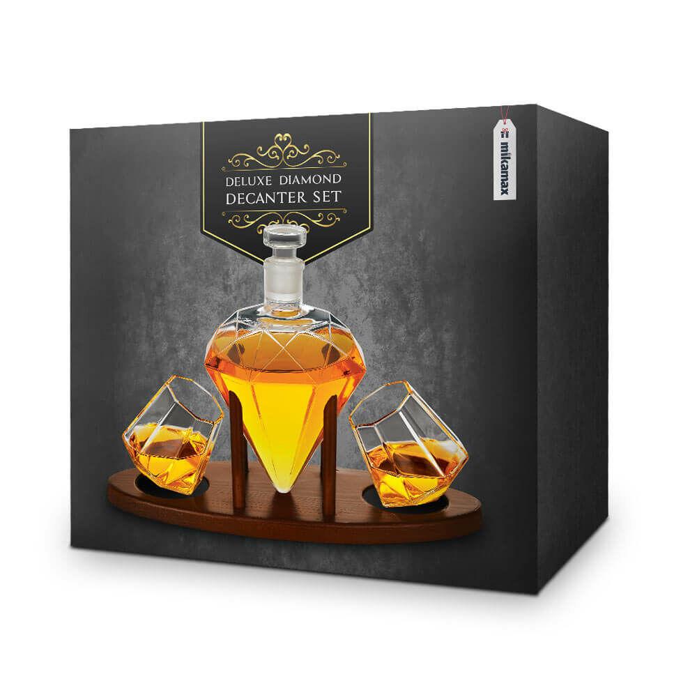 Exkluzív ajándék férfiaknak a gyémánt ital dekantáló készlet