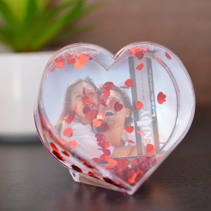 Romantikus ajándék a szív flitteres szív alakú fényképtartó
